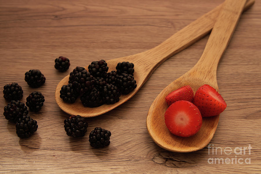 Strawberry And Blackberry Spoons Photograph