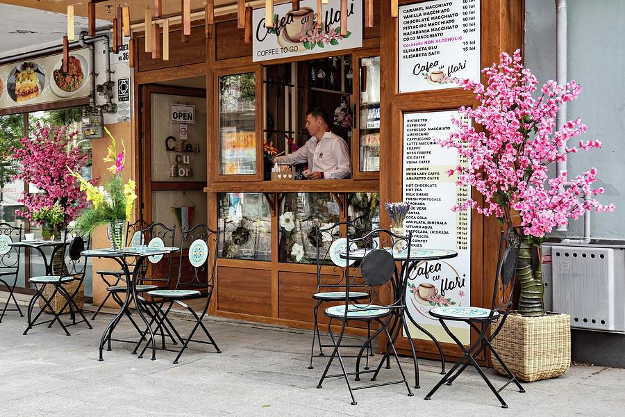 Bucharest Photograph - Street Cafe in Bucharest, Romania by Barry O Carroll