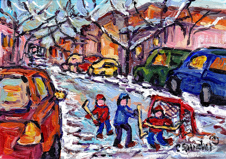 STREET HOCKEY SNOW DAY WINTER CITYSCENE  MONTREAL ART CANADIAN PAINTING C SPANDAU QUEBEC ARTIST by CAROLE SPANDAU