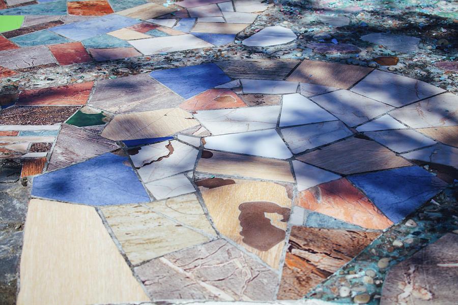 Street Mosaic Pavement. Light And Shadows Play Photograph