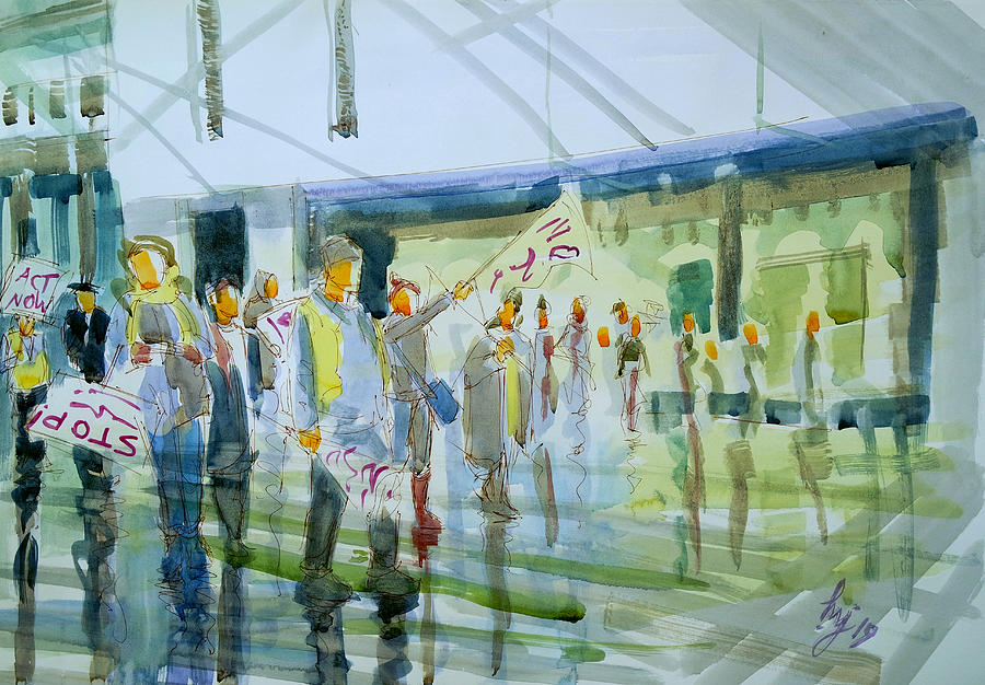 Street Protest in Exeter watercolor painting by Mike Jory