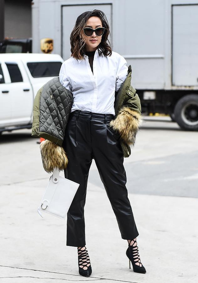 Street Style - New York Fashion Week February 2017 - Day 5 Photograph by Daniel Zuchnik