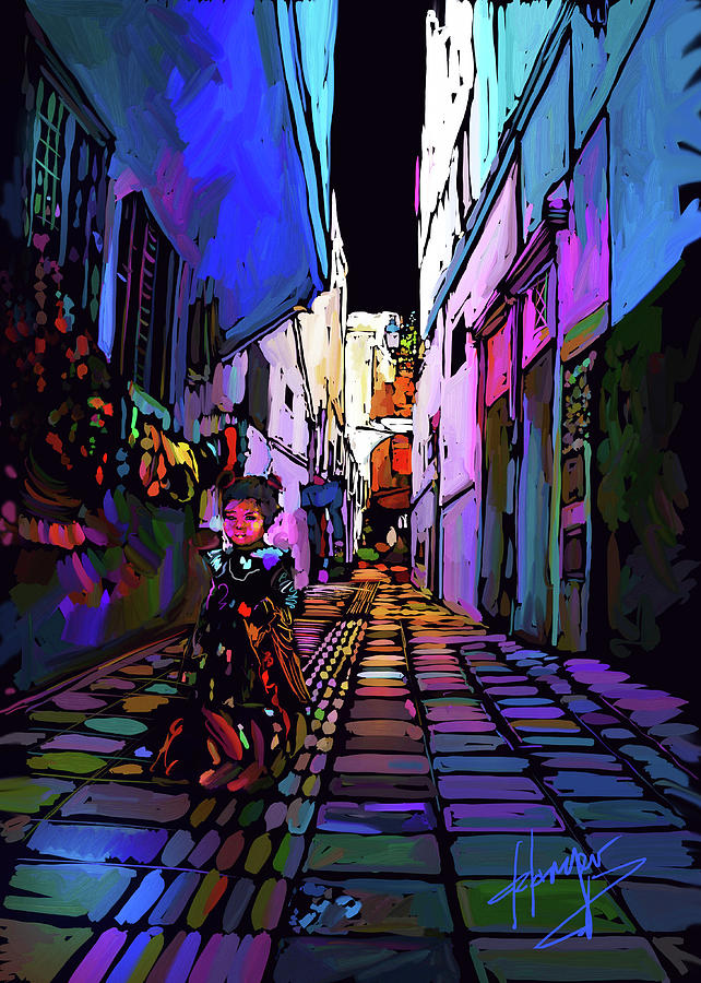 Street To Tea House In Rabat, Morocco Painting