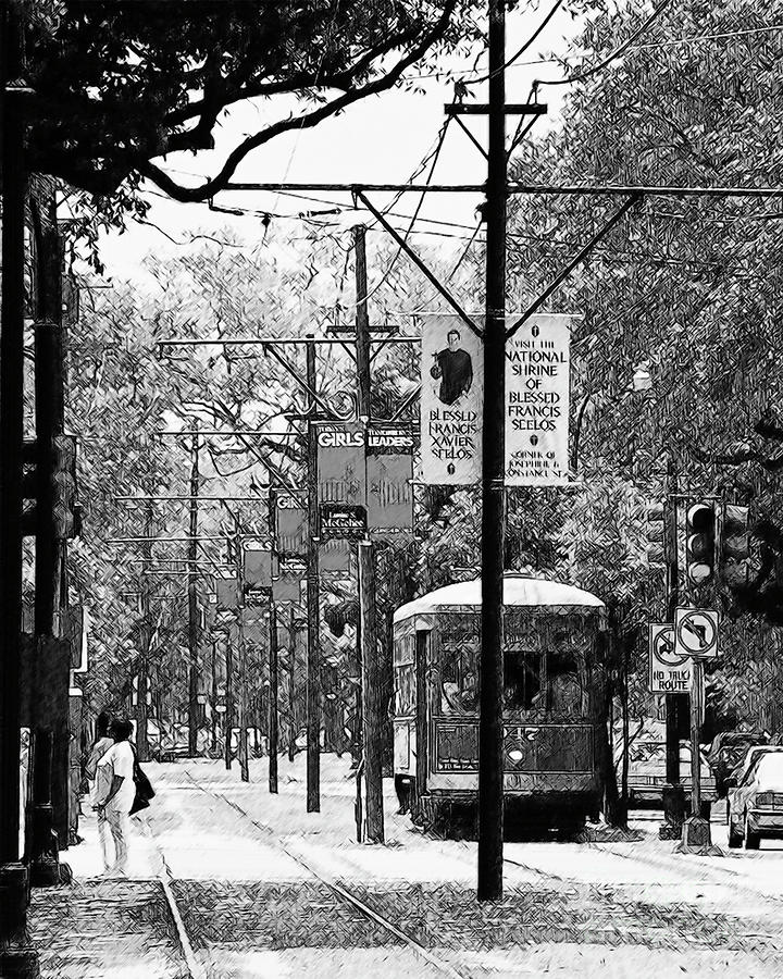 New Orleans Drawing - Streetcar by Kirt Tisdale