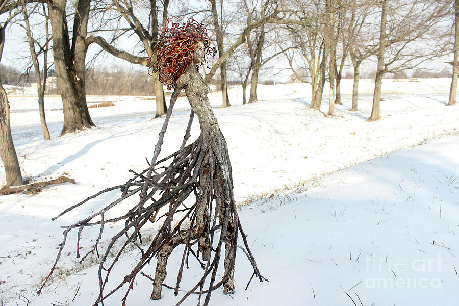 Striding Through A Wintry Glade Sculpture