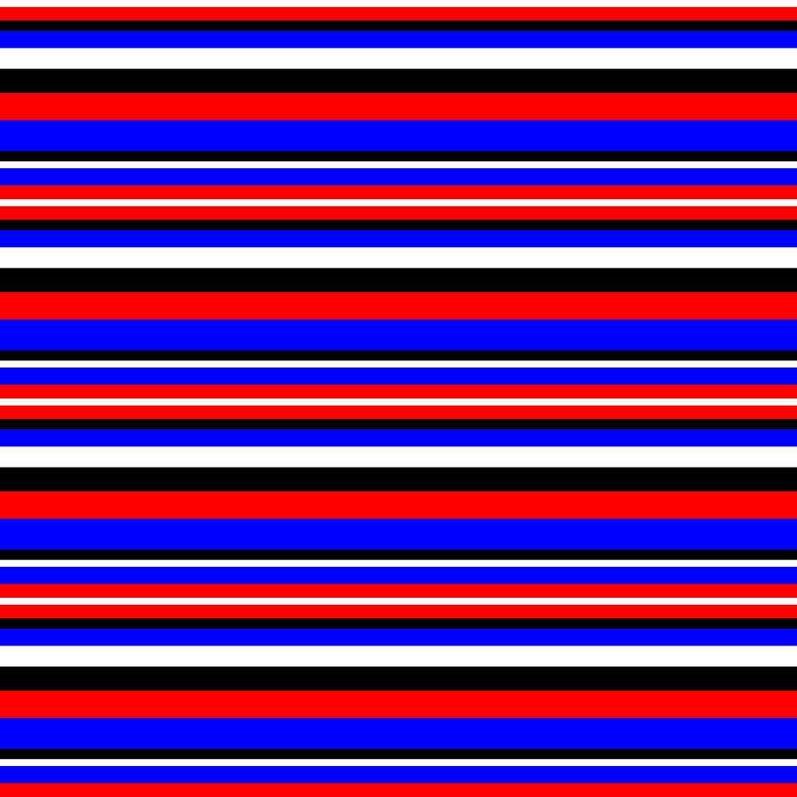 Stripe BlackWhiteRedBlue by Max Coffey