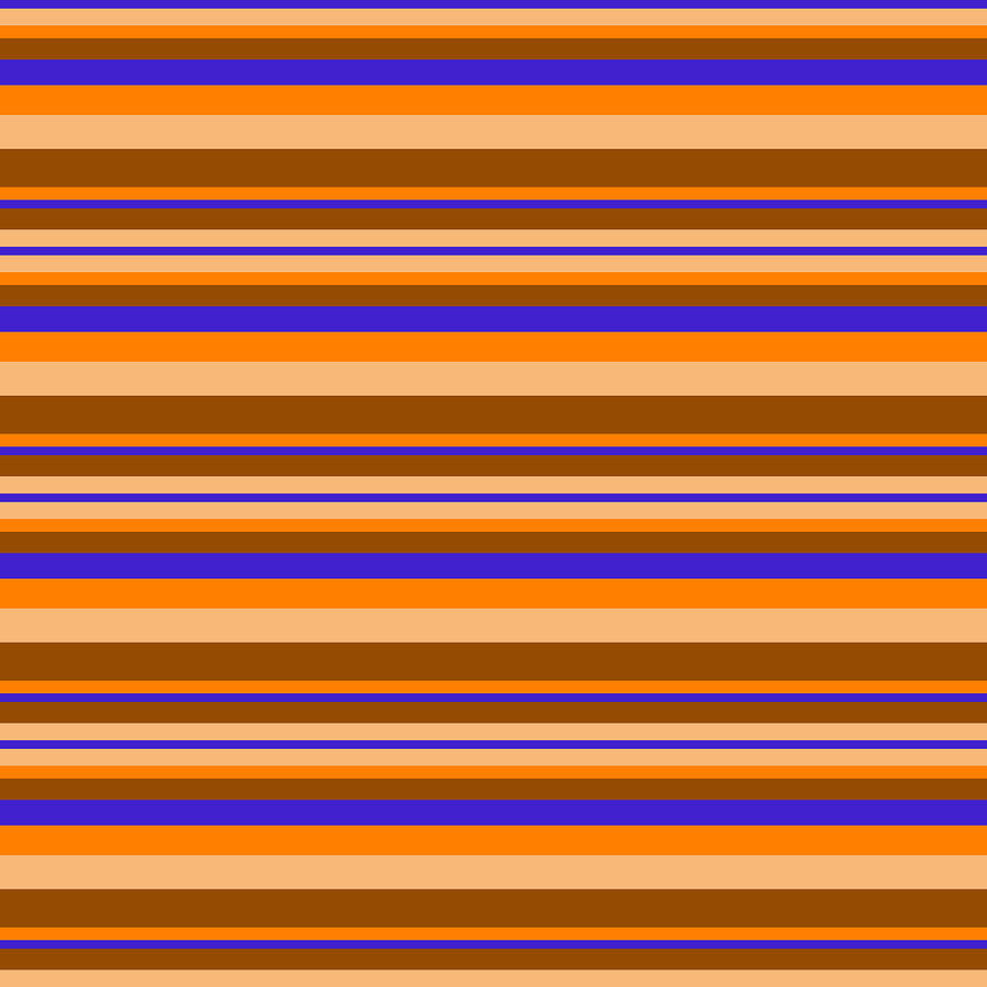 Stripe BlueOrangeBeigeBrown by Max Coffey