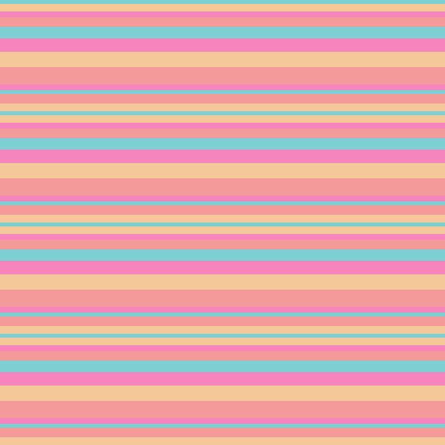 Stripe SalmonPinkBeigeTurquoise by Max Coffey