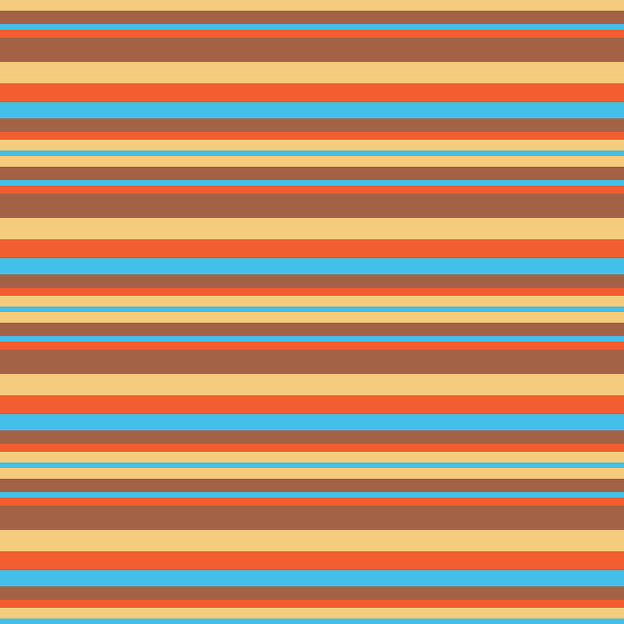 Stripe TurquoiseCoralBeigeBrown by Max Coffey