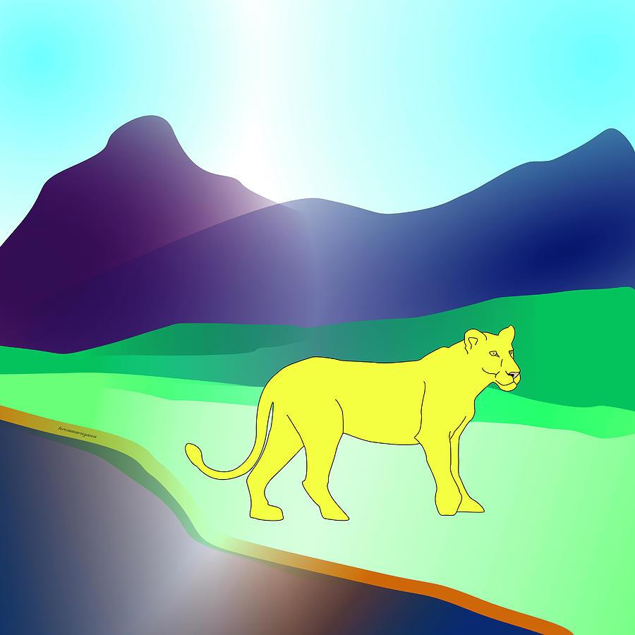 Lion Digital Art - Strolling Lion by Teresamarie Yawn