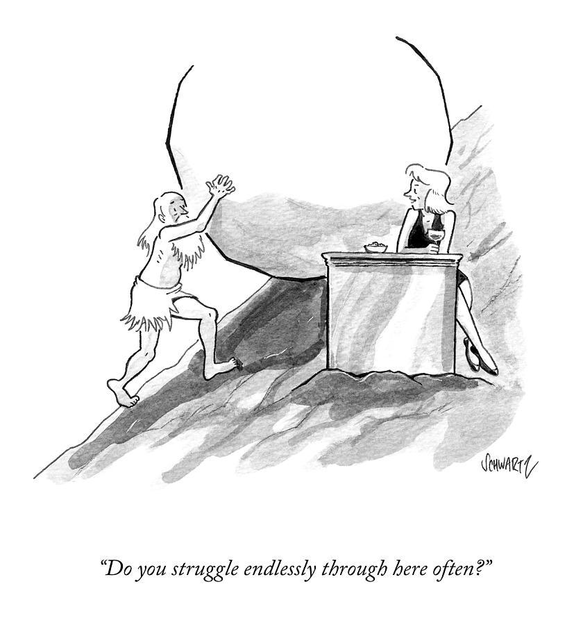 Struggle Endlessly Drawing by Benjamin Schwartz
