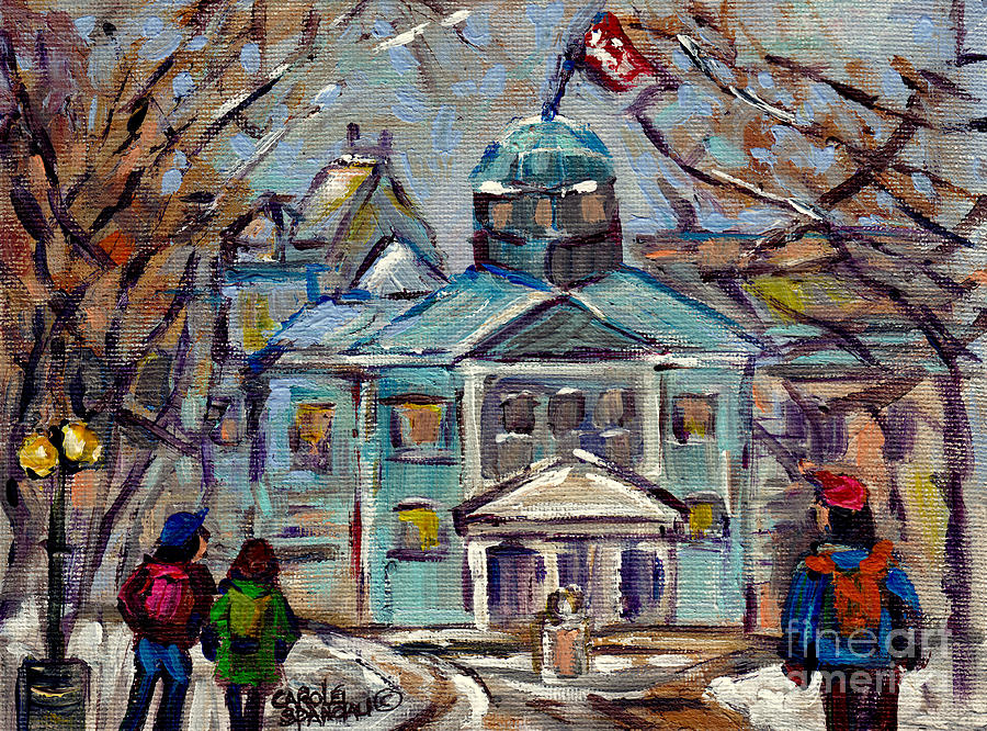 Montreal Painting - Students On Campus Mcgill University Winter Scene Hall Building C Spandau Artiste Peintre Quebec Art by Carole Spandau
