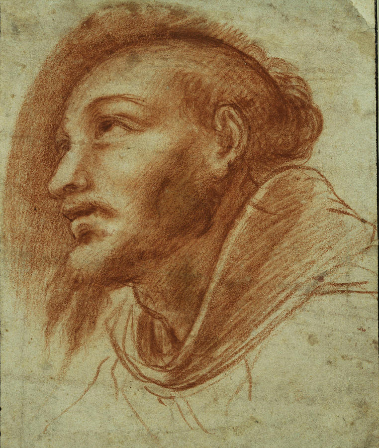 Giovanni Battista Crespi Painting - Study Of A Franciscan Monk  Possibly Saint Francis   by Giovanni Battista Crespi