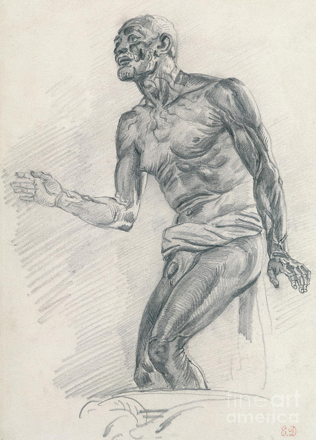Study of a Male Nude by Ferdinand Victor Eugene Delacroix