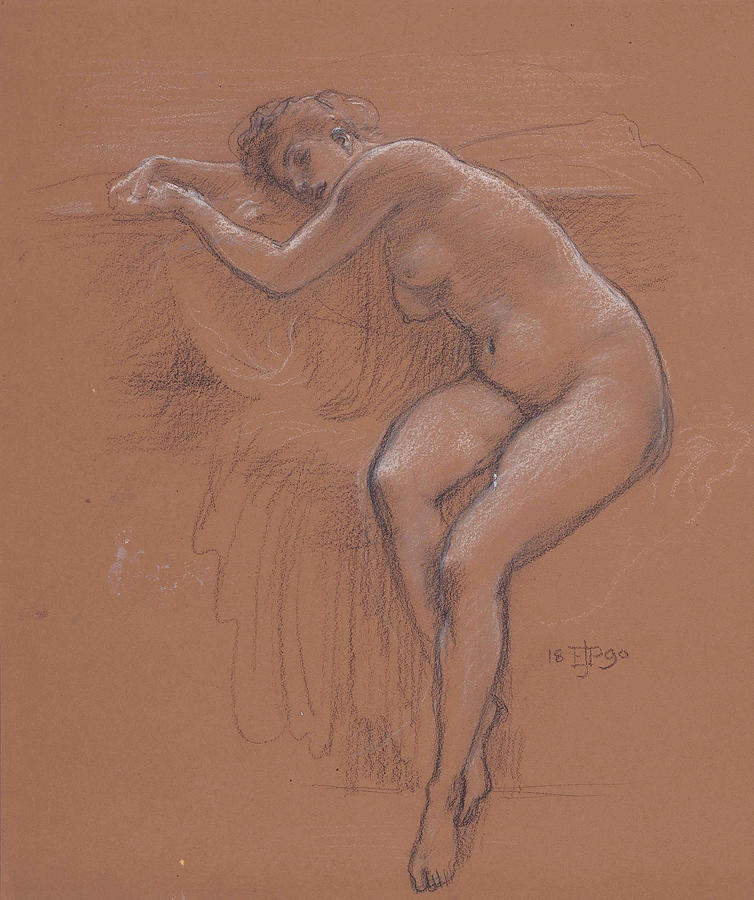 Study of a seated nude for When the World was Young  by Edward John Poynter
