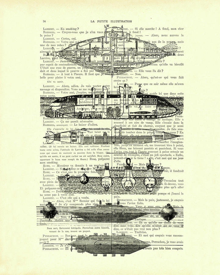 Submarine Diagram On Antique French Book Page Mixed Media By Madame Memento