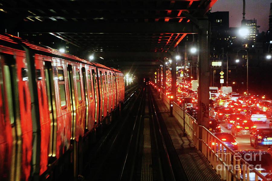Subway Train And Car Traffic On Williamsburg Bridge New York City Photograph