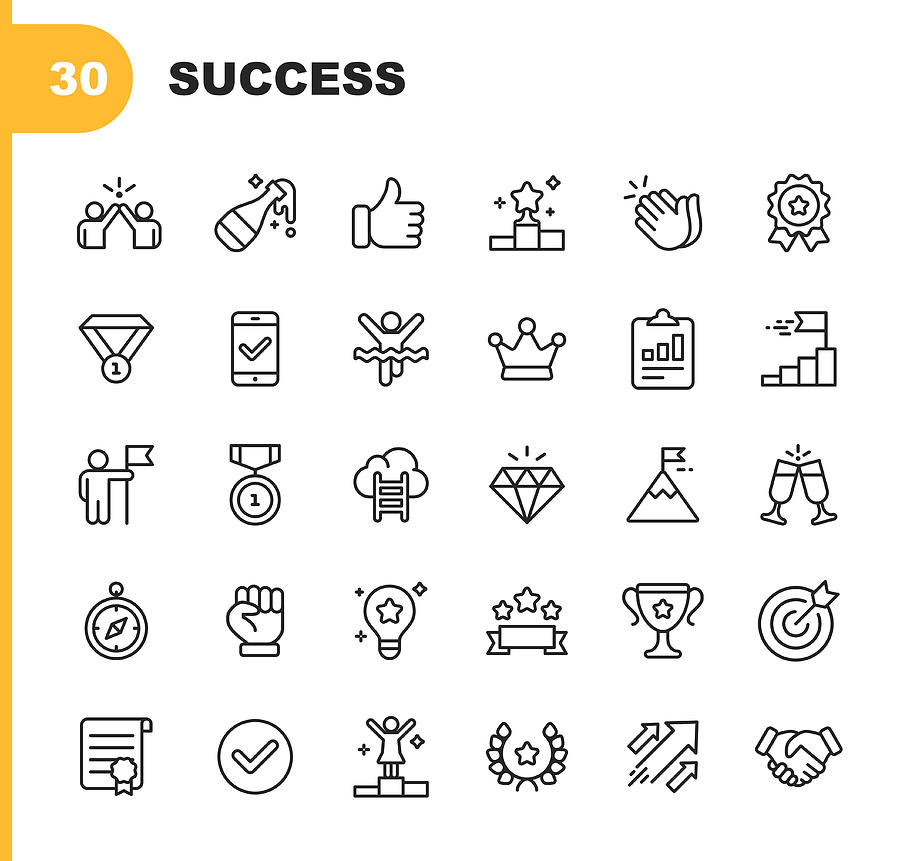Success and Awards Line Icons. Editable Stroke. Pixel Perfect. For Mobile and Web. Contains such icons as Champagne, High Five, Finish Line, Handshake, Medal. Drawing by Rambo182