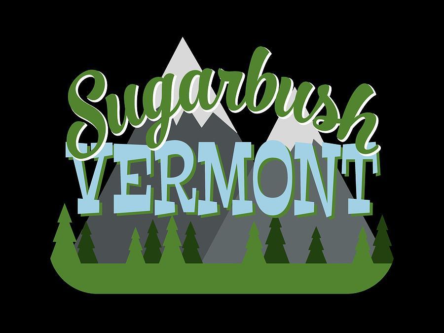 Sugarbush Digital Art - Sugarbush Vermont Retro Mountains Trees by Flo Karp