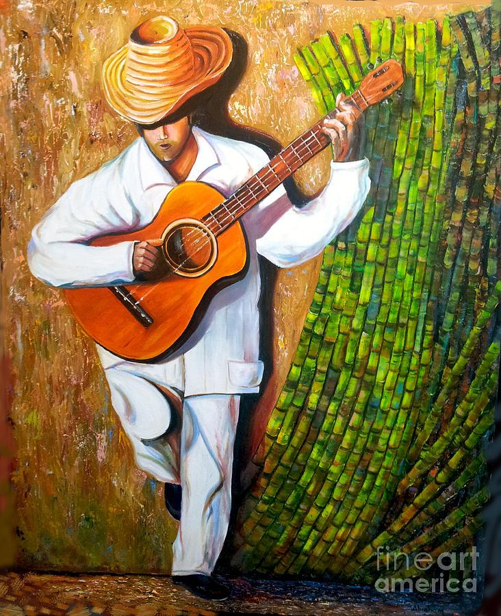 Guitar Painting - Sugarcane Worker by Jose Manuel Abraham