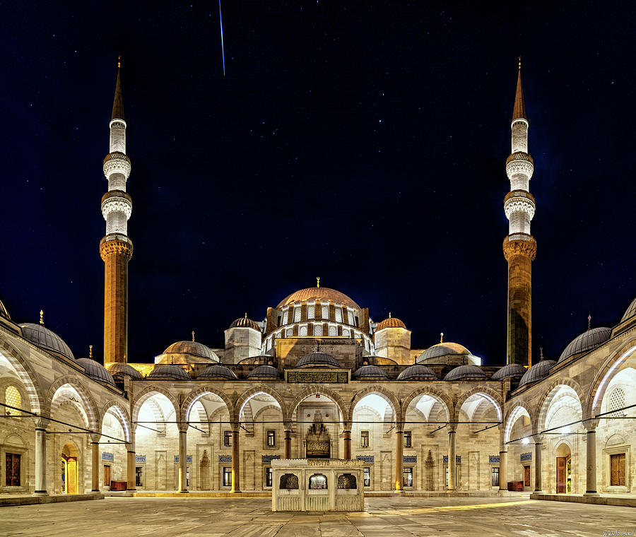 Suleiman Mosque at night Istanbul by Weston Westmoreland