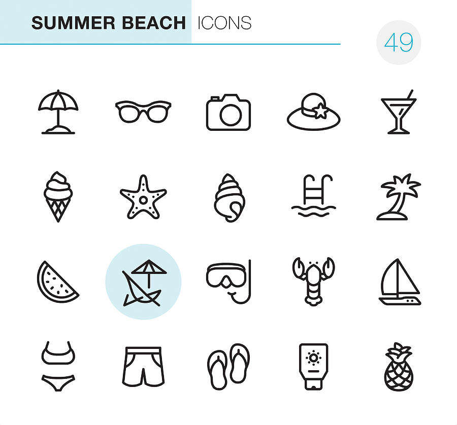 Summer Beach - Pixel Perfect icons Drawing by Lushik