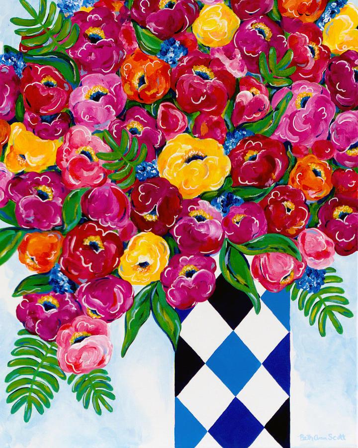 Flower Bouquet Painting - Summer Blooms by Beth Ann Scott
