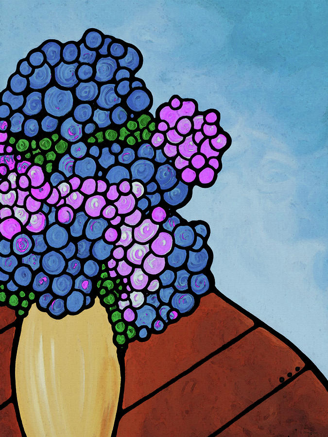 Abstract Flowers Painting - Summer Blues - Hydrangea Flower Art by Sharon Cummings