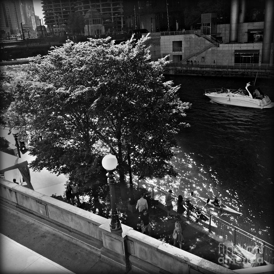 Urban Landscape Photograph - Summer Days on the Chicago River - Black and White by Frank J Casella