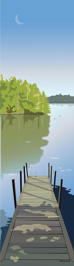 Lake Digital Art - Summer Dock by Marian Federspiel