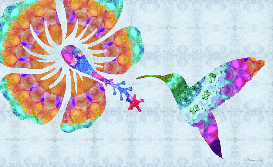 Hummingbird Painting - Summer Flight - Colorful Hummingbird Art - Sharon Cummings by Sharon Cummings