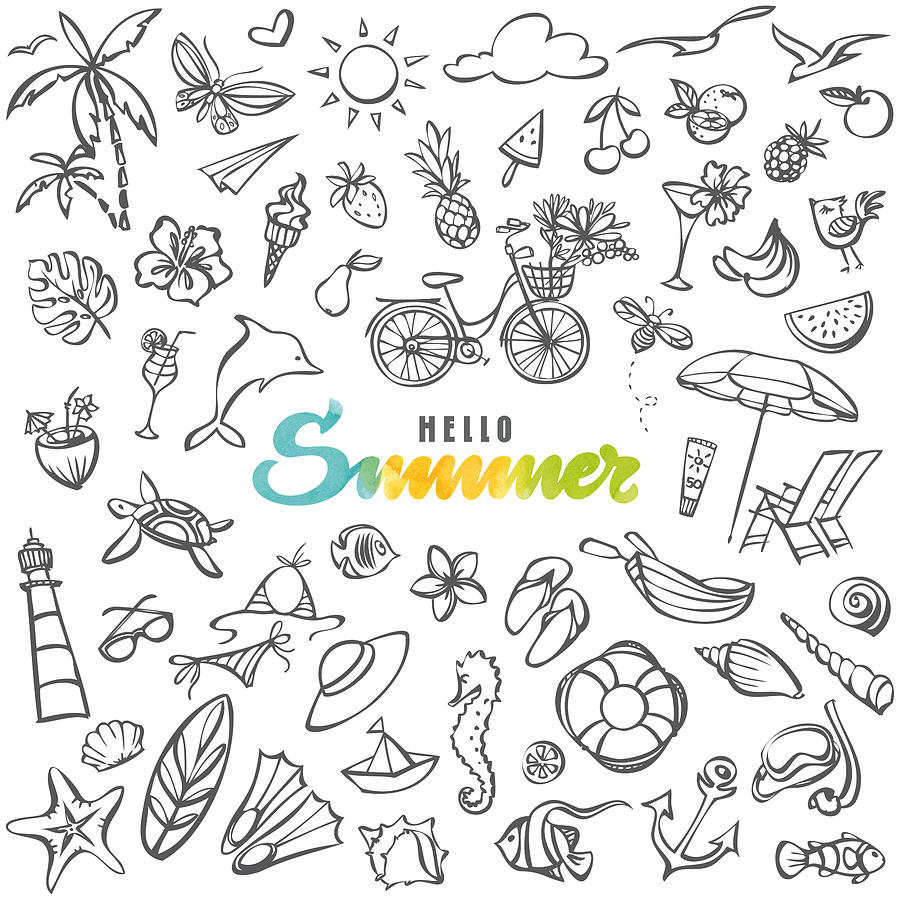 Summer icons collection Drawing by Ollustrator