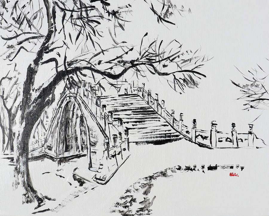 Summer Palace Painting - Summer Palace Bridge in the Snow 202025 by Alyse Radenovic