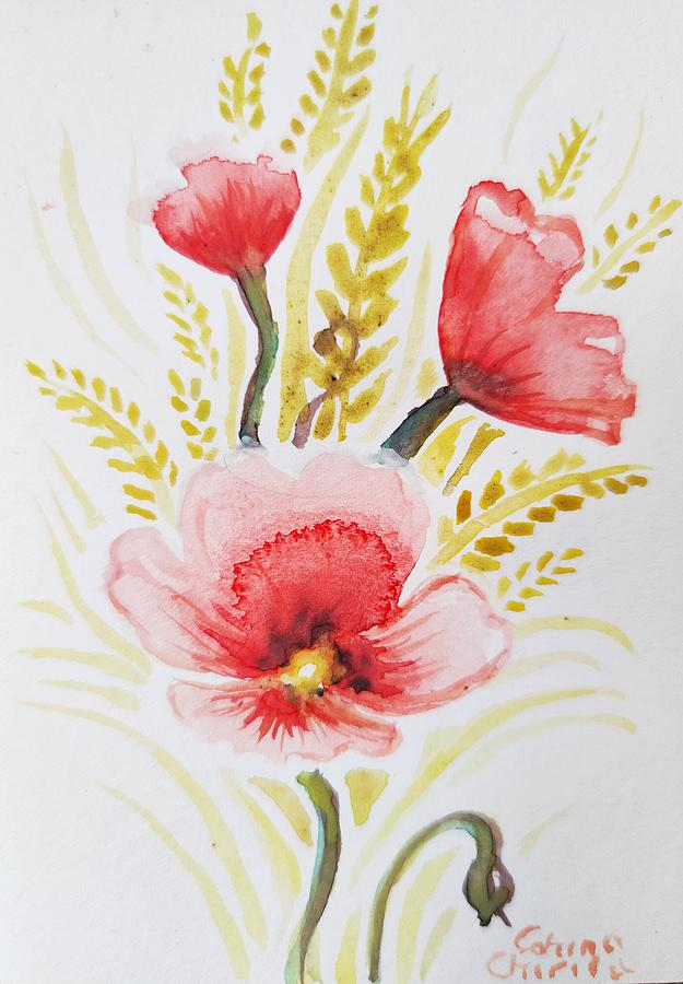 Summer Painting - Summer Pppy Flower And Wheat by Chirila Corina