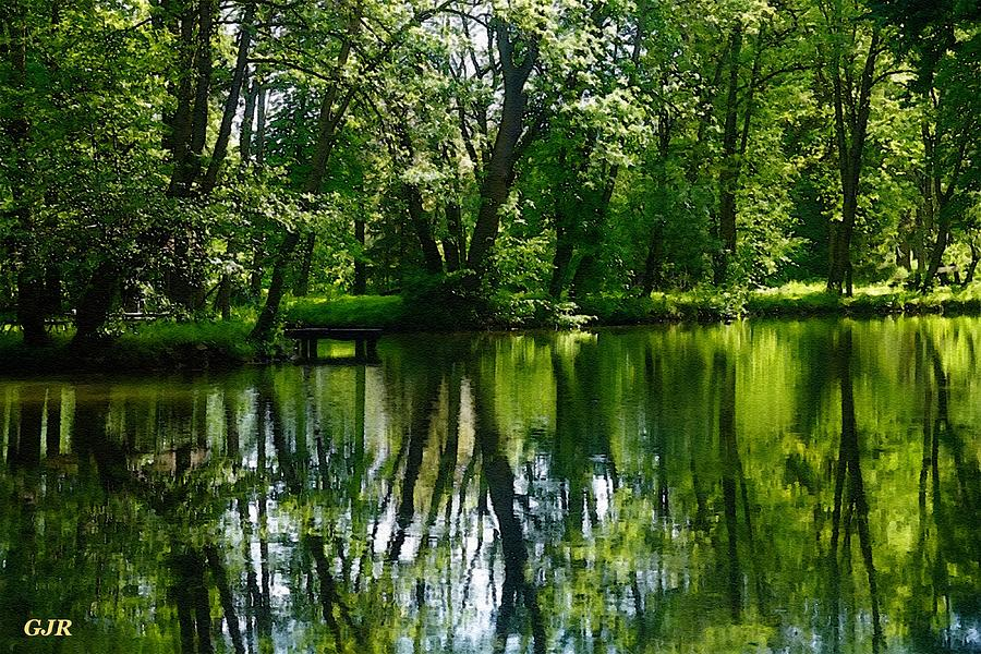 Summer River Tree Reflections - Winterton Park L A S Digital Art