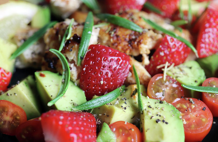 Summer Salad With Chicken Avocado Tomato Strawberry And Rosemary Photograph