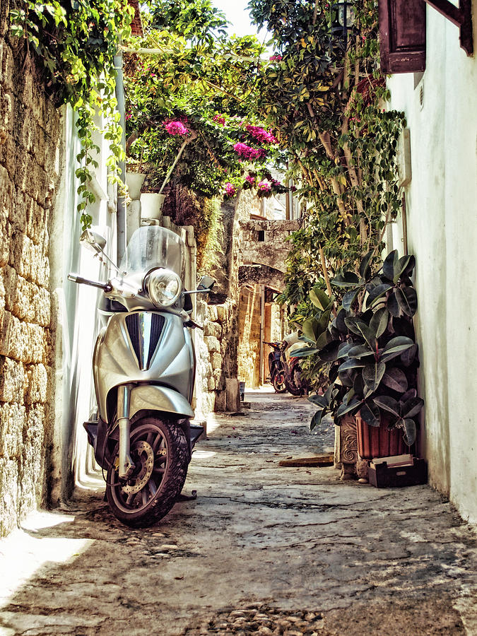 summer scooter - rhodes town by Philip Openshaw
