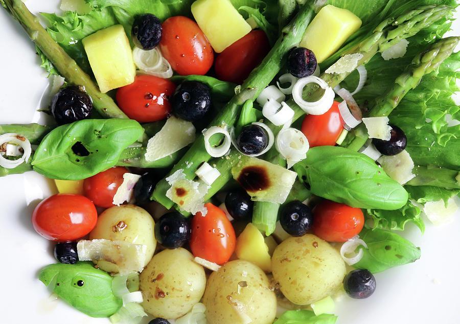 Summerpotato Asparagus Blueberry Basil Tomato Salad Photograph