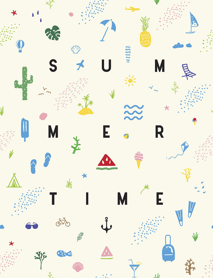 Summertime seamless pattern poster Drawing by Miakievy