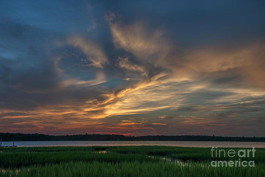 Summertime Skies - Wando River Marsh Sunset Photograph