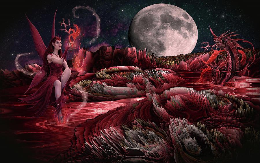 Summoning The Dragon Of Blood Mountain Digital Art