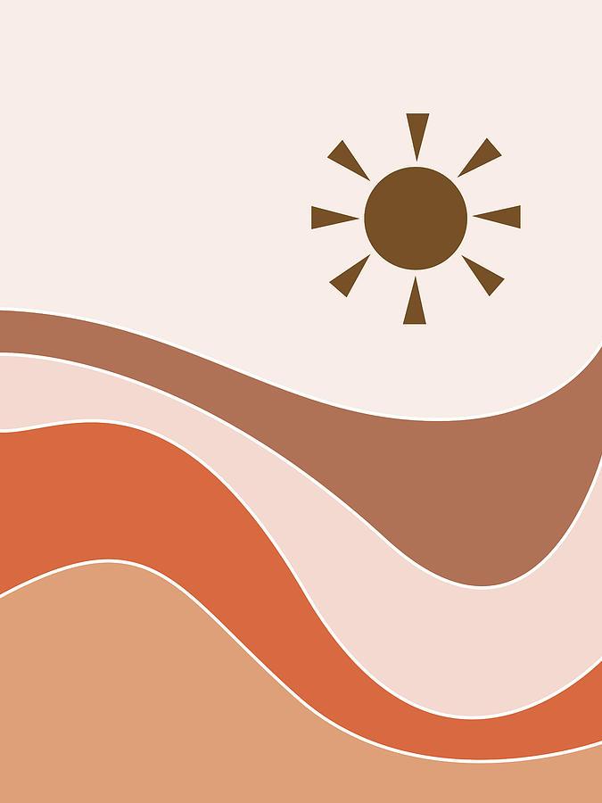 Sun And The Sea 01 - Modern, Minimal Abstract - Nursery Decor Mixed Media