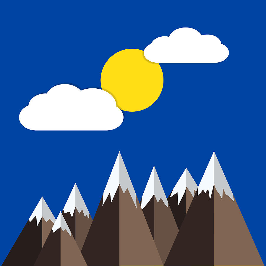 Sun, Clouds And Snow Capped Mountains Digital Art