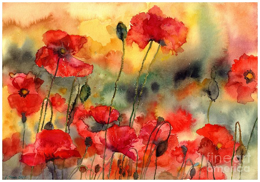 Poppy Painting - Sun Kissed Poppies by Suzann Sines