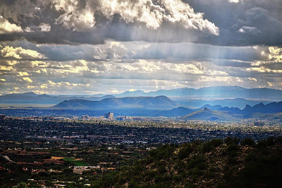 Sun Rays over Tucson Skyline by Chance Kafka