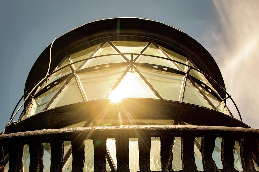 Lighthouse Photograph - Sun Reflection on Glass Jupiter Lighthouse Coastal Landscape Photo by Melissa Fague