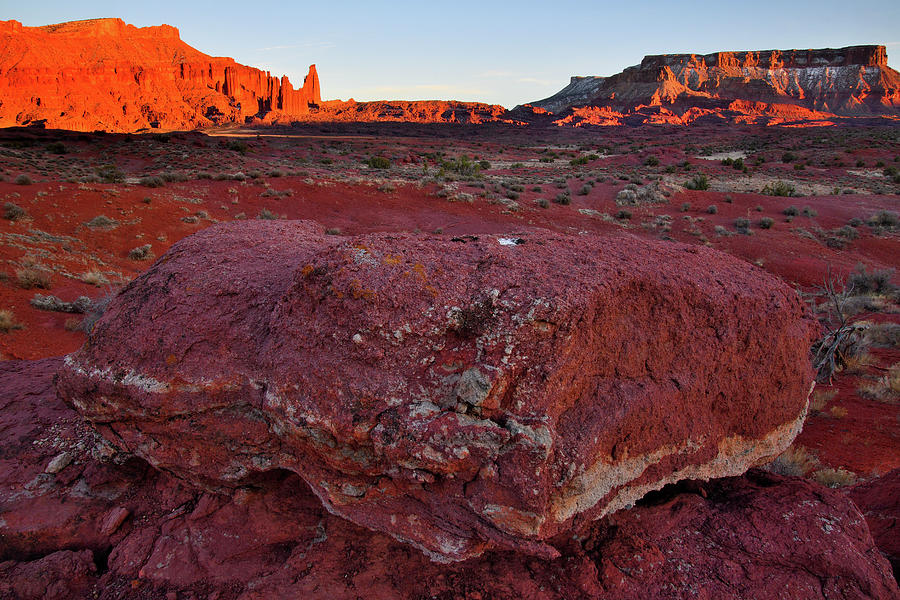 Sun Sets On Fisher Towers Photograph
