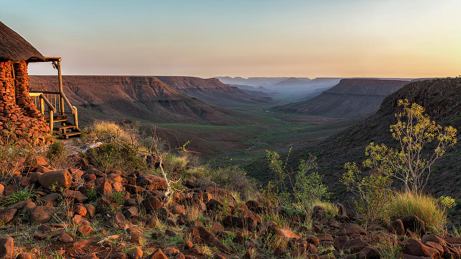 Sun Setting at Grootberg Lodge over Klip River Valley in Namibia by Belinda Greb