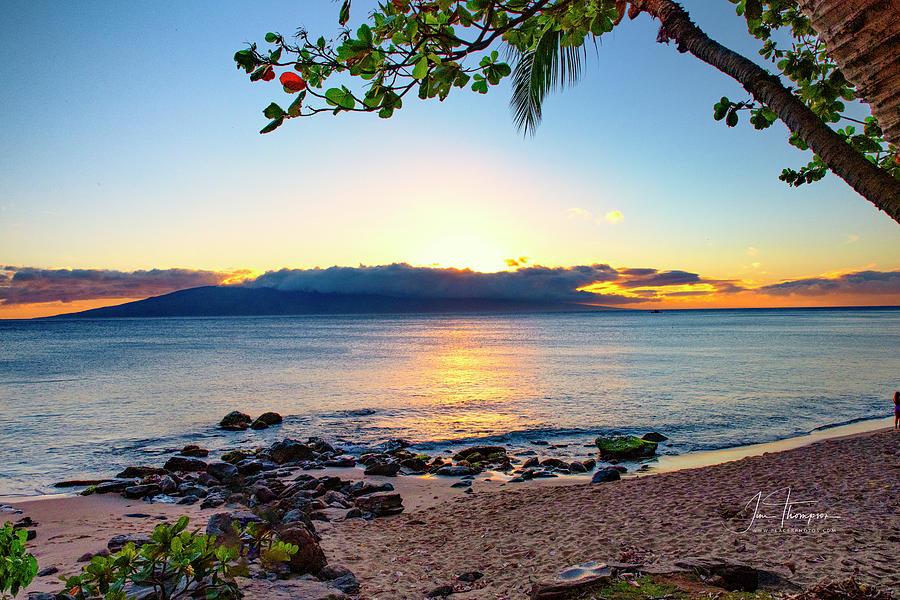 Hawaii Photograph - Sun Setting Behind Lanai by Jim Thompson