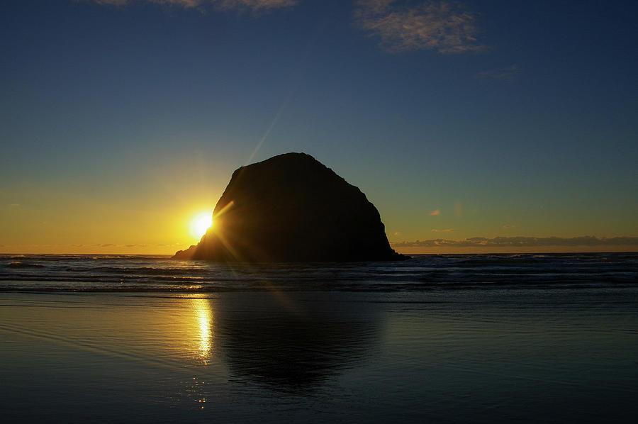 Sun Setting On A Haystack Rock Photograph